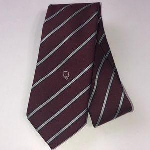 Christian Dior Striped Silk Blend Tie